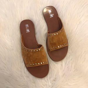 Kennedy Camel Studded Asymmetrical Slide Sandal